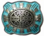 Aztec Turtle Belt Buckle + display stand. Product code: SG7